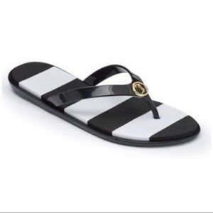 Juicy Couture Black White Stripe Thong Sandals NWT